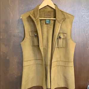 Women's Lauren faux suede zip up vest XL